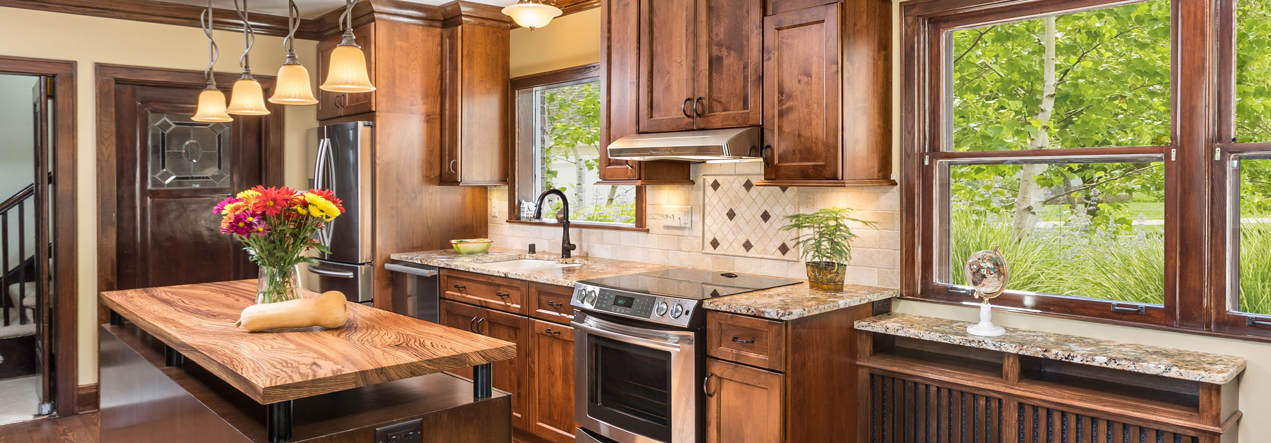 whitefish bay kitchen remodeling with zebrawood island